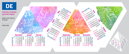 Template german calendar 2019 by seasons pyramid shaped, vector watercolor background