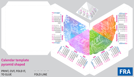 Template french calendar 2019 by seasons pyramid shaped, vector watercolor background Illustration