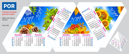Template portuguese (brazilian) calendar 2019 by seasons pyramid shaped, vector background Vectores