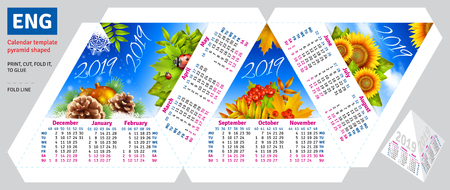 Template english calendar 2019 by seasons pyramid shaped, vector background