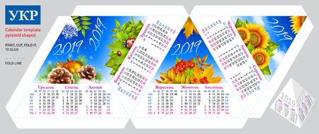 Template ukrainian calendar 2019 by seasons pyramid shaped, vector background