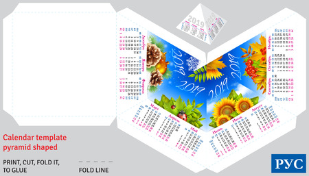 Template russian calendar 2019 by seasons pyramid shaped, vector background
