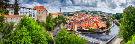 City landscape, panorama, banner - view over the historical part Cesky Krumlov with Vltava river in summer time, Czech Republic Stock Photo