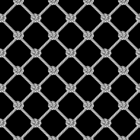 Seamless pattern, background, gray rope woven in the form fishing net, isolated on black  background