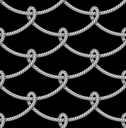 Nautical gray rope woven, seamless pattern, background, isolated on black  background Illustration