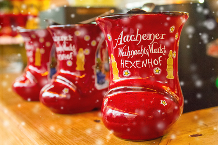 Traditional german holiday alcoholic drink - punch (translated as - Aachen Christmas Market Hexenhof, Aachen, Germany) Stock Photo