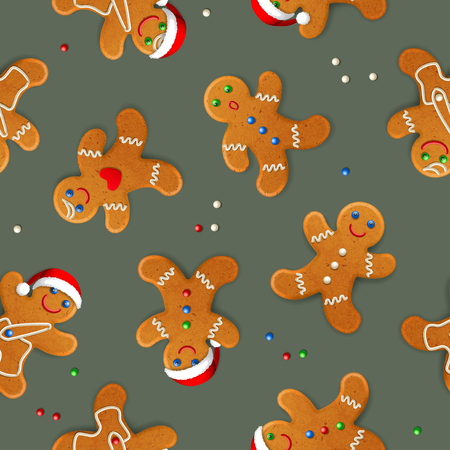 Vector seamless background with realistic christmas gingerbread mans, decorated with icing, on gray-green background