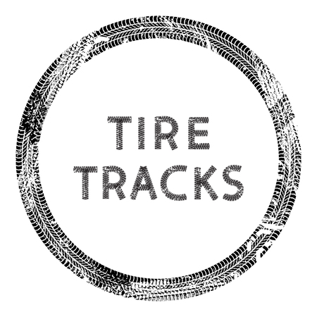 Round frame of car tire tracks isolated on white background, vector background Illustration