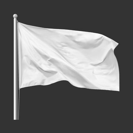 White flag waving in the wind on flagpole, isolated on gray background, vector