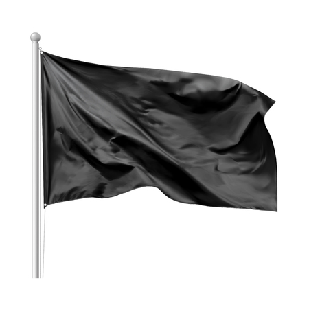 Black flag waving in the wind on flagpole, isolated on white background, vector