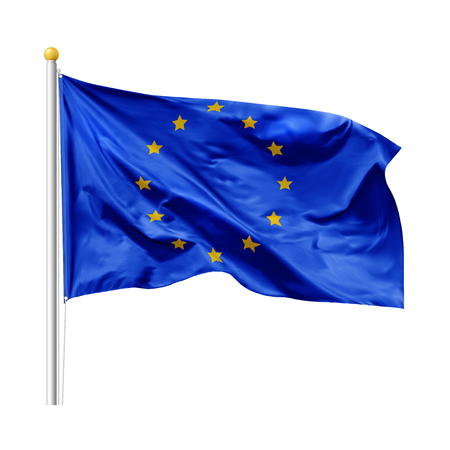 Flag of the European Union in the wind on flagpole, isolated on white background, vector Stock Vector - 123640443
