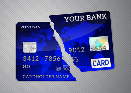 Broken credit card, invalid expired card, isolated on background Vectores
