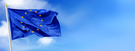 Flag of the European Union waving in the wind on flagpole against the sky with clouds, banner, vector Stock Vector - 123640444