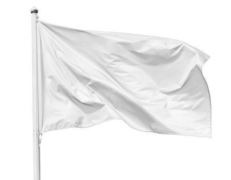 White flag waving in the wind on flagpole, isolated on white background, closeup