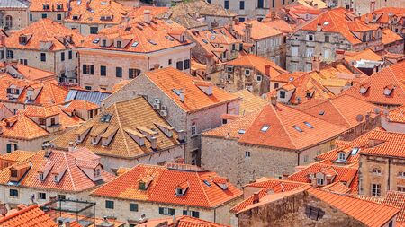 Summer mediterranean cityscape - view of the roofs of the Old Town of Dubrovnik, on the Adriatic coast of Croatia