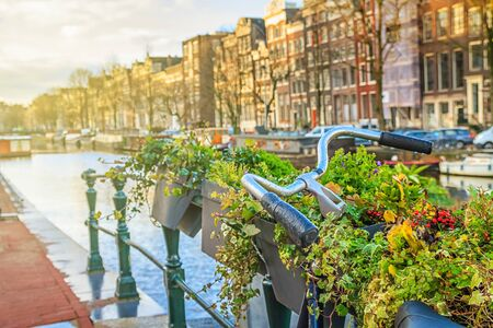 Cityscape on a sunny winter day - view on the parked bicycle with flowers on a canal background in the historic center of Amsterdam, The Netherlands