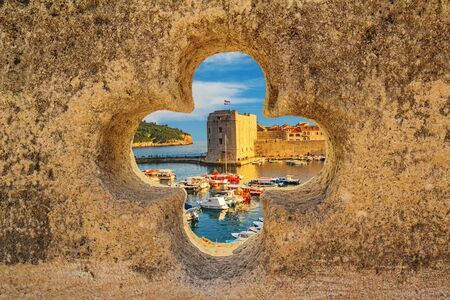 Coastal summer landscape - view of the City Harbour and marina of the Old Town of Dubrovnik on the Adriatic coast of Croatia Stok Fotoğraf