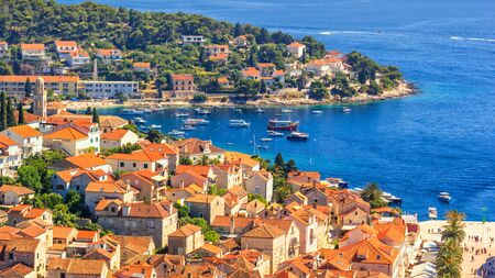 Coastal summer landscape - view of the City Harbour of the town of Hvar, on the island of Hvar, the Adriatic coast of Croatia