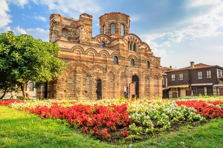 Cityscape with historic buildings - view of the Church of Christ Pantocrator in the Old Town of Nesebar, in Burgas Province on the Black Sea coast of Bulgaria Stok Fotoğraf