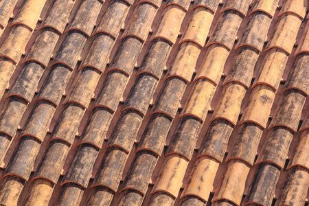 Mediterranean cityscape - view of the tiled roofs of the Old Town of Dubrovnik, on the Adriatic coast of Croatia Stok Fotoğraf