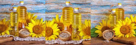 Set rural still-lifes, banner - sunflower oil in bottles with flowers of sunflower (Helianthus annuus), closeup Stok Fotoğraf