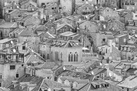 Summer mediterranean cityscape in black-and-white color - view of the roofs of the Old Town of Dubrovnik, on the Adriatic coast of Croatia