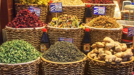 Summer city landscape - view of the counter with spices at the Egyptian Bazaar (the Spice Bazaar) of Istanbul, in Turkey, 4 June, 2017