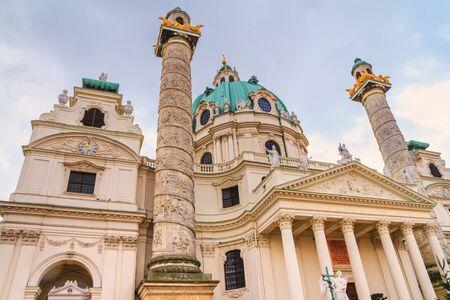 City landscape - bottom view of the Karlskirche (St. Charles Church) located on the Karlsplatz in Vienna, Austria Stock fotó