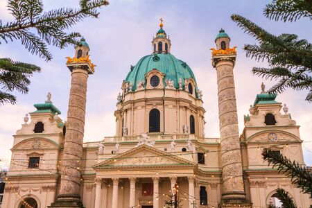 Festive cityscape - view of the Karlskirche (St. Charles Church) for Christmas holidays in the city of Vienna, Austria Stock fotó