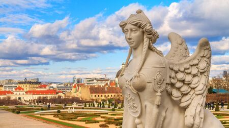 City landscape - close-up view of the Sphinx sculpture on the background of the Belvedere Gardens in the city of Vienna, Austria