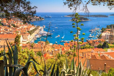 Coastal summer landscape - view of the City Harbour of the town of Hvar and Paklinski Islands, the island of Hvar, the Adriatic coast of Croatia Stock fotó