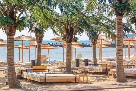 Coastal landscape - view of the beach umbrellas and loungers, city of Varna, on the Black Sea coast of Bulgaria Stock fotó