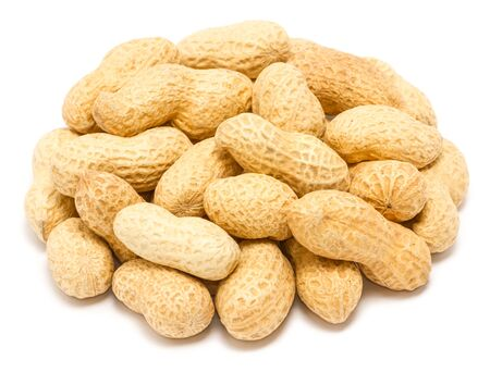 Handful of peanut (Arachis hypogaea) in the shell, close up, isolated on white background