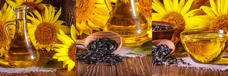 Set rural still-lifes, banner - sunflower oil with flowers of sunflower (Helianthus annuus) against the background of an wooden wall, closeup Stock fotó