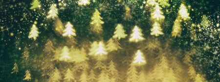 Golden glittering background with Christmas trees. Sparkle glitter texture with the bokeh and the lights, shiny metal gold foil Stock fotó