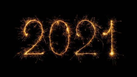 Happy New Year 2021 written with bengal fire, sparkler fireworks candle isolated on a black background. New Year dark background. Banque d'images