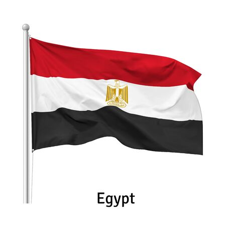 Flag of the  Arab Republic of Egypt in the wind on flagpole, isolated on white background, vector Ilustração