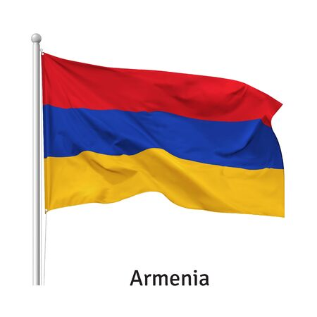 Flag of the Republic of Armenia in the wind on flagpole, isolated on white background, vector 向量圖像