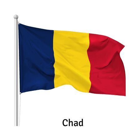 Flag of the Republic of Chad in the wind on flagpole, isolated on white background, vector