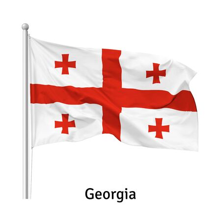 Flag of the Republic of Georgia in the wind on flagpole, isolated on white background, vector