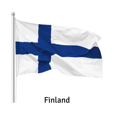 Flag of the Republic of Finland in the wind on flagpole, isolated on white background, vector