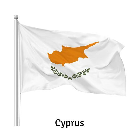 Flag of the Republic of Cyprus in the wind on flagpole, isolated on white background, vector