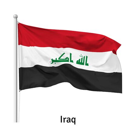 Flag of the Republic of Iraq in the wind on flagpole, isolated on white background, vector