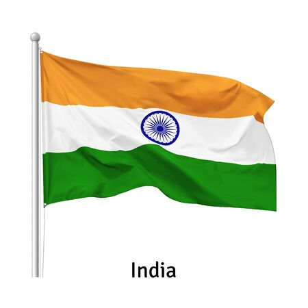 Flag of the Republic of India in the wind on flagpole, isolated on white background, vector 向量圖像