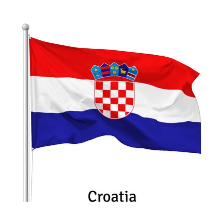 Flag of the Republic of Croatia in the wind on flagpole, isolated on white background, vector  イラスト・ベクター素材