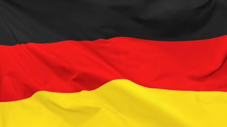 Fragment of a waving flag of the Federal Republic of Germany in the form of background, aspect ratio with a width of 16 and height of 9, vector