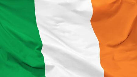 Fragment of a waving flag of the Republic of Ireland in the form of background, aspect ratio with a width of 16 and height of 9, vector