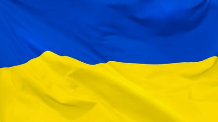 Fragment of a waving flag of the Ukraine in the form of background, aspect ratio with a width of 16 and height of 9, vector  イラスト・ベクター素材