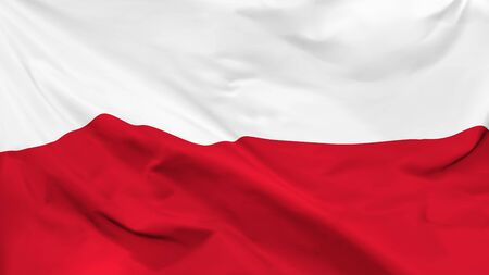 Fragment of a waving flag of the Republic of Poland in the form of background, aspect ratio with a width of 16 and height of 9, vector
