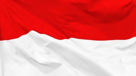Fragment of a waving flag of the Republic of Indonesia in the form of background, aspect ratio with a width of 16 and height of 9, vector